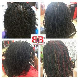 Small size dreadlocks done with dread extensions by Bee