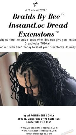 dreads installed with instantloc dread extensions methods by Braids By Bee