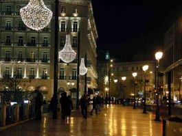 Athens, Christmas decorated , in the years of austerity misery