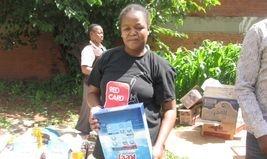 Children receiving their food parcels