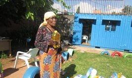 Women receiving their food parcels