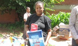 Children receiving their food parcels