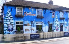 hawkenbury pub mural hand painted christmas commercial trees tree snow pine sky stars moon santa father christmas seasonal festive