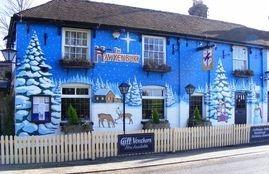 hawkenbury pub mural hand painted christmas commercial trees tree snow pine sky stars moon santa father christmas seasonal festive