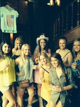 Kristin's Nashville bachleorette party stops for a toast on the Music City Pub Crawl