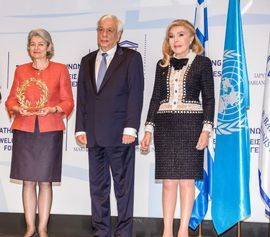 rina Bokova, Prokopis Pavlopoulos, Marianna B. Vardinogiannis at the Athens meeting November 23, 24 2016 for the refugee crisis