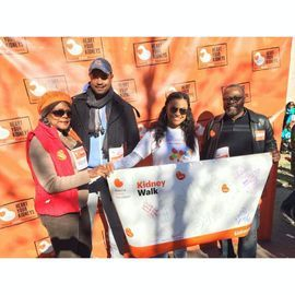 Family and I displaying the banner we designed at the NY kidney Walk