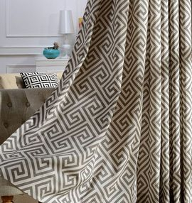 Linen Texture Print Curtains-96L