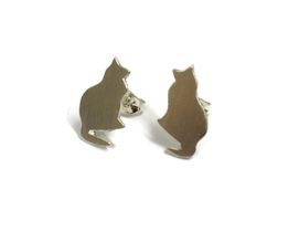 hand made silver cat studs