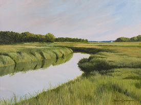 Saltwater Marsh in Summer Oil Painting by Tricia Granzier Maine Artist