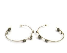 hand made silver and pyrite hoops