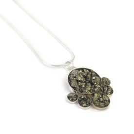hand made silver and pyrite necklace
