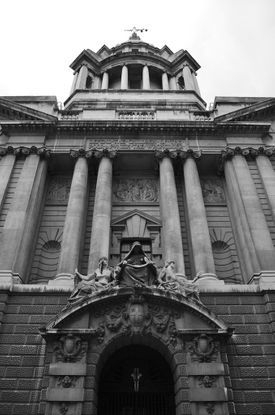 The entrance to the Old Bailey in London