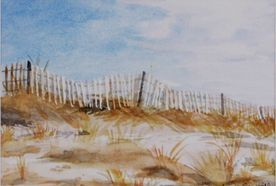 Sand Dunes at Maine Beach Original Watercolor by Tricia Granzier