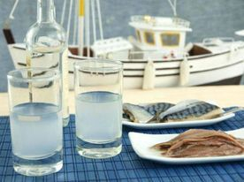 original Greek sushi, sardines from Kalloni Gulf in Lesvos, eaten raw and salted by ouzo , by the sea. Best of omega-3 worldwide