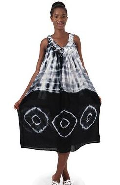 Solid Tie-Dye Design Halter Dress: Black Look alluring and lively with this Tie Dye halter dress.
