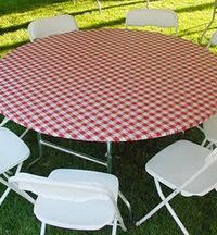 Round Patterned Plastic Elastic Table Cover