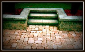 garden wall with stone steps
