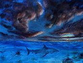 This painting was inspired by all my travels to oceans around the world, and my fear of what lurked beneath