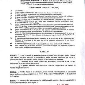 decret du ministre des arts du Cameroun sur les collection et artiste