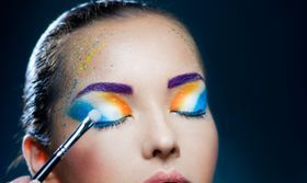 Makeup lesson and application, stock photo
