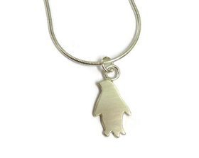 hand made silver penguin pendant