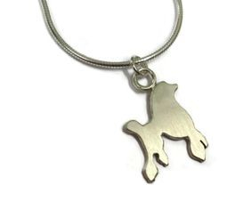 hand made silver poodle pendant