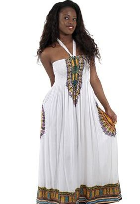 Traditional Print Tube Dress: White  Show off your figure with this traditional print tube dress. 100% rayon; hand wash for best results.
