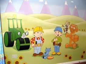 bob the builder mural hand painted tractor building cartoon animation childrens tv show