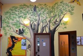 gibbon tree jungle forest trees giraffe mural door frame hand painted