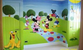 mikey mouse club house cartoon disney childrens bedroom grass tress animation sky mural hand painted minnie goofy pluto