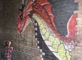 george dragon chalk art mural high street red smaug wall graffiti