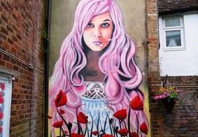 poppy flower girl woman face mural hand painted coffee shop garden pink hair