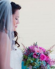 Navarre Beach Florida Wedding, Bridal bouquet with roses, tulips & blue hydrangea