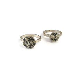 hand made silver and pyrite rings
