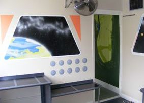 childrens bedroom mural space stars planets space station control panel galaxy nebula hand painted