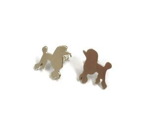 hand made silver poodle studs