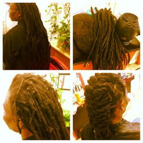Natural dreads that have been unkept for over a year, Braids by Bee creates miracles by customers request he said Locs were to heavy and long.  Bee cut some of the length and re-attached dreads to the top short pieces of his natural hair in front that was missing dreads.