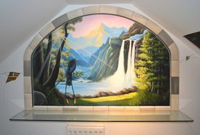 waterfall trompe loeil hand painted mural bird tropical rain forest sunset sky sunshine