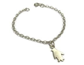 hand made silver penguin bracelet