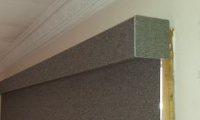 Matching pelmet with a roller blind blockout