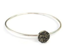hand made silver and pyrite bangle