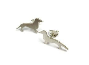 hand made silver sausage dog studs