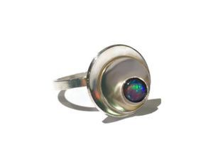 hand made silver and opal ring
