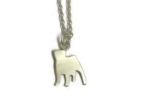 hand made silver bull dog pendant