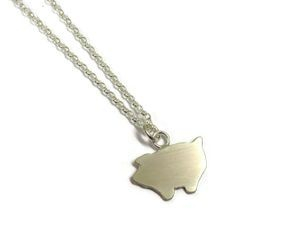 hand made silver piggy pendant