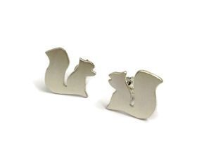 hand made silver squirrel studs