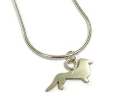 hand made silver sausage dog pendant