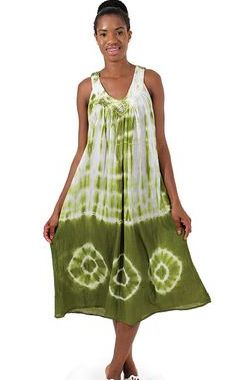 Solid Tie-Dye Design Halter Dress: Olive  Look alluring and lively with this Tie Dye halter dress.