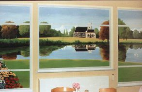church lake mural trompe loeil lake scenery landscape garden reflection hand painted optical illusion